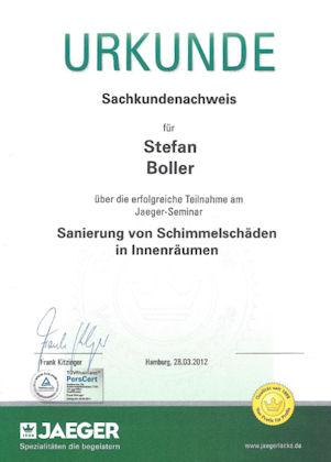 Zertifikat Schimmelbeseitigung